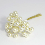 B1443CM\GL Pearls: 10mm: 3 Stem: Pack of 12: Cream/Gold